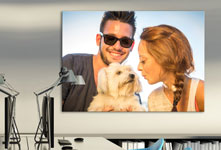 Poster example couple with dog