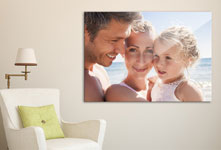 living space for canvas print with family portrait