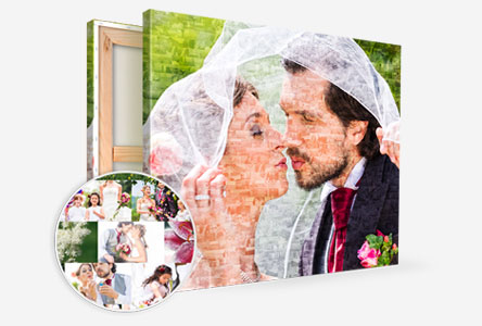 perspective mosaic canvas with bridal pair