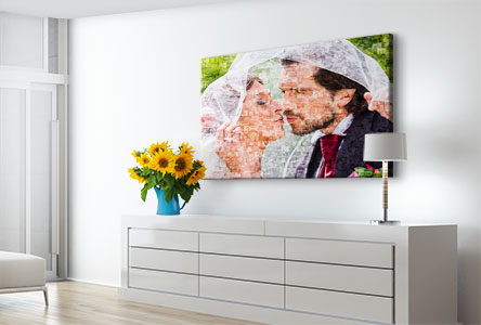 canvas mosaic in living room_example bridal pair