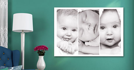canvas print living room example baby photo collage