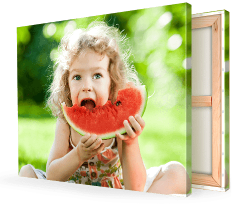 child eating melon on canvas print