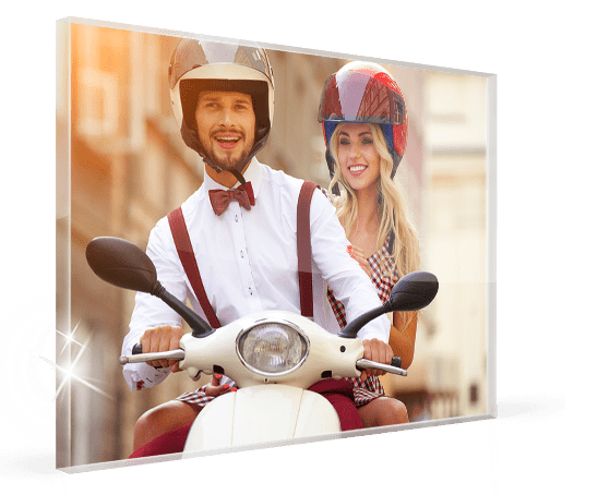 Acrylic print example with couple on scooter