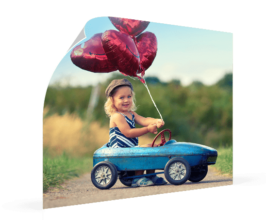 photo poster example with girl in pedal car