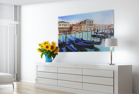 living room boats Venedig photo on acrylic glass