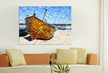 living room photo mosaic little boat on canvas