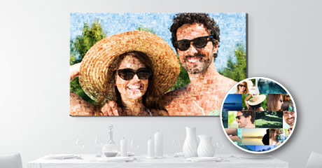 living space photo mosaic on canvas with couple