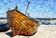 photo mosaic little boat