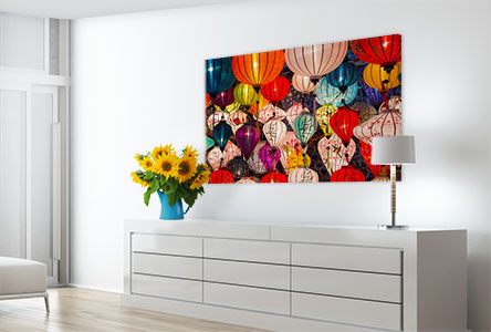 photo poster living room example coloured paper lanterns