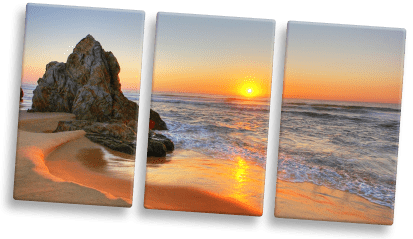 split canvas print example with sunset