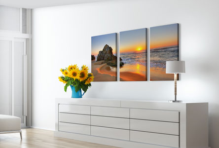 split canvas prints living room example beach sunset