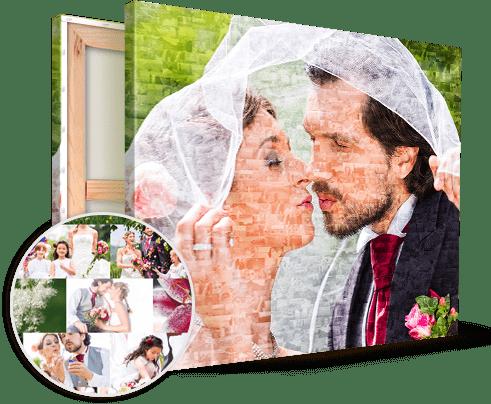wedding couple on mosaic